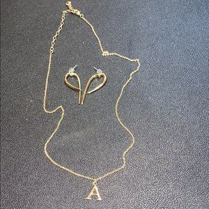 "NEW BAUBLEBAR GOLD ""A"" NECKLACE + FREE EARRINGS"